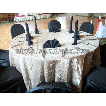 Ornate pintuck taffeta square/round table cloth,table cover