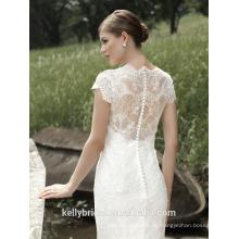 ZM16003 Plus Size Brautkleider mit kurzen Ärmeln Luxus See-through Back Traditionelle Brautkleider Pattern French Lace