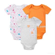 Suministro chino bebé niña mameluco naranja y gris bebé blanco onsie