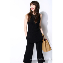 Moda senhoras Nylon Side Split Knit Vest Sweater