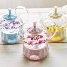 Pyrex Glass Tea pot Heatable Porcelain Tea Set