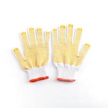 Guantes de punto de algodón punteados de seguridad amarilla