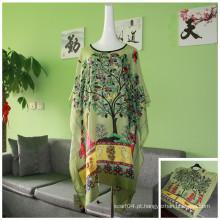 Trade Assurance Primavera Outono Moda Vintage Mulheres Padrão Floral Print Viscose Blusa Mulheres Short Bat Manga T-shirt