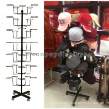 Loja de moda única Merchandising Metal 7-Tier Free Standing Rotating Cap e Hat Holders Racks