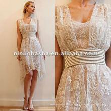 Tiras de espaguete com vestido de noiva com faixa de renda
