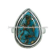 Lovely Blue Kupfer Türkis Edelstein 925 Sterling Silber Ring