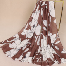 Hot selling 5 colors 200x100cm long scarf shawl Peony pattern printed scarf women's twill cotton voile scarf