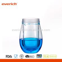 2016 Vidros de vinho decorativos de plástico com líquido colorido