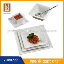 Cena de cerámica de alta calidad de forma cuadrada al por mayor juego de cena de cerámica