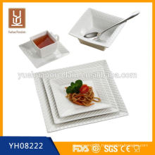 2014 wholesale new square dinner set white porcelain plates