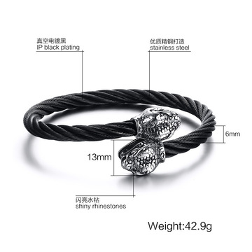 ODM for Men'S Cuff Bangle Mesh Stainless Steel Wire Snake Head Bangle Bracelet supply to Italy Factories