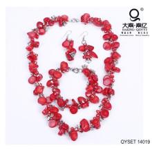 Pedra vermelha Irregular da liga conjunto de joias acessório