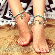 Wholesale Turquoise Beaded Blue Diamond Disc Tassel Combination Anklet