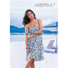 Mujeres tejido impresión sintética vestido de playa sin tirantes