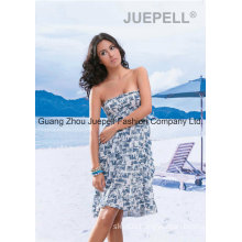 Women Woven Abstract Print Strapless Beach Dress