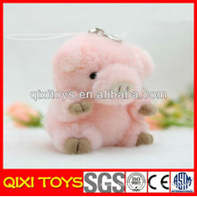 New design high quality plush pink pig keychain