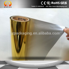 25mic Gold metallized pet film lamination with EVA for paper industry