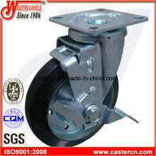 6 Inch Black Rubber Industrial Swivel Caster with Brake