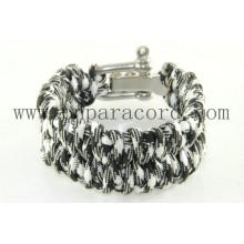 pulseira de paracord estilo camo branco e preto novo