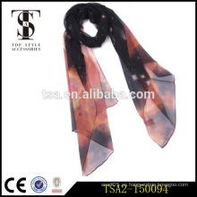 Alto estándar deslumbrante patrón interestelar georgette seda bufanda para el vestido de noche