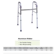 Walker en aluminium pliante à deux pieds