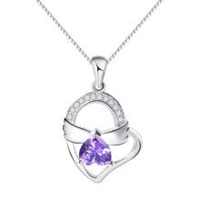 Púrpura Amethyst ala de ángulo de cristal en el corazón colgante de joyería de moda tipo