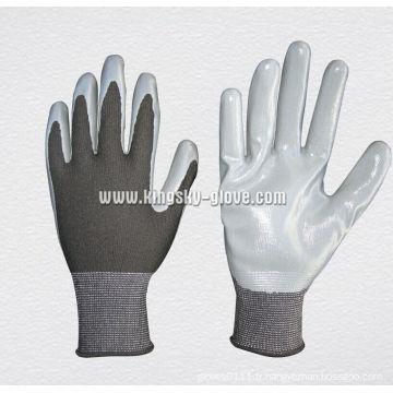Gant de travail enduit de nitrile de doublure de polyester 13G (5129)