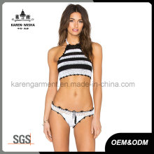Latest Halter Crochet Striped Bathing Suits for Women
