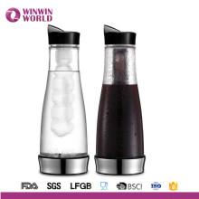 Verre froid de fabricant de café de Brew de Pyrex de 1000ml sans BPA avec la base d'acier inoxydable
