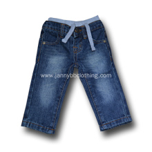 rib waist washed kids blue jeans