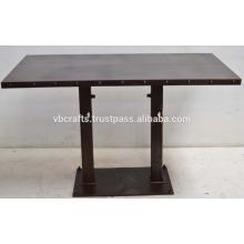 Modern Urban Loft Industrial Metal Dining Table Rustic Finish