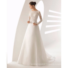 Pesado Beading Mangas Compridas Rendas e Organza Vestido De Noiva Vestido De Noiva