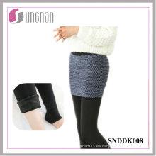 Señoras elegantes de invierno Fake Culottes de dos piezas Leotardos de pie de vellón añadidos