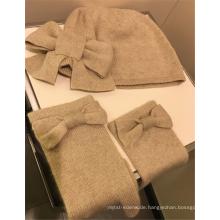 PK18A03HX Kaschmir-Set - Beanie und Handschuhe mit Bowknot