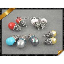 Colgante colorido Shell de la perla del mar, joyería pendiente del collar de los granos cristalinos (EF099)