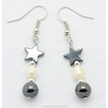 fashion hematite pearl earring