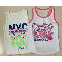 Menina sem mangas colete de t-shirt em roupas de moda infantil (sv-022-027)