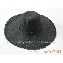 Леди черная соломенная летняя шапка с бисером
