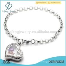 Bracelet en breloque à la mémoire de bijoux en gros, bracelet à chaîne programmable de style chic pour fille