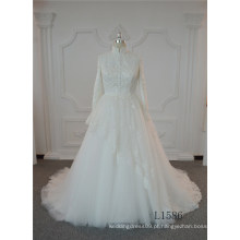 Vestido de casamento ocidental do marfim do vestido de casamento do tule da mistura do cetim dos vestidos de bola
