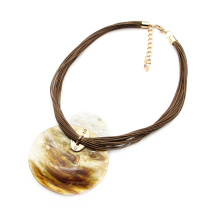 Boho style multi layer leather string collar jewelry for women statement bib necklaces