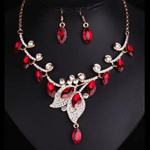 Unique Party Necklace Set With Red Diamonds