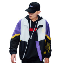 Hot Selling Colorblocked Men's Hooded Windbreaker Jacket