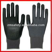 Buen precio guantes de tejer de hilo negro pu revestimiento