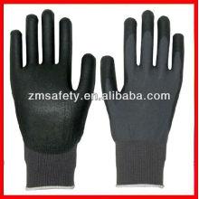 Хорошая цена черный строка вязать перчатки PU покрытием