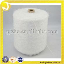 Original color blanco 100% hilo de nylon de la pluma para hacer punto, tela