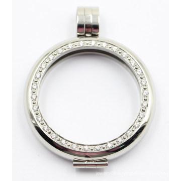 Pendentif de médaillon en acier inoxydable de haute qualité Rd Edge 316L avec plaque de monnaie interchangeable
