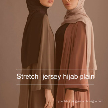 High quality solid color plain printed scarf jersey shawl hijab muslim