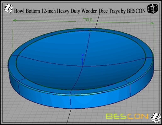 Bowl Bottom 12-inch Heavy Duty Wooden Dice Trays by BESCON-2
