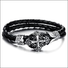 2015 la cuerda doble de acero titanium de los nuevos hombres trenzó las pulseras cruzadas PH869 de la cadena de cuero